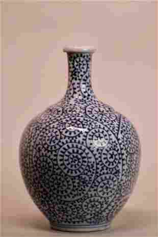 Japanese Blue White Arita Porcelain Bottle Vase