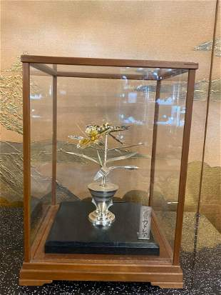 Japanese Sterling Silver Flower in Showcase