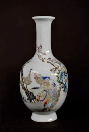 Chinese Famille Rose Porcelain Vase - Warrior on Horse