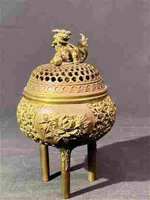 Japanese Bronze Censer - Floral Motif