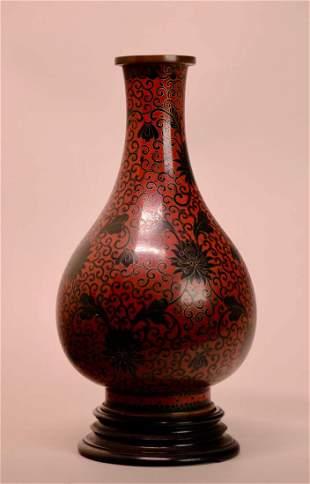 Chinese Cloisonne Vase with Zitan Base