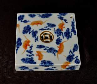 Chinese Square Porcelain Scholar Water Dropper