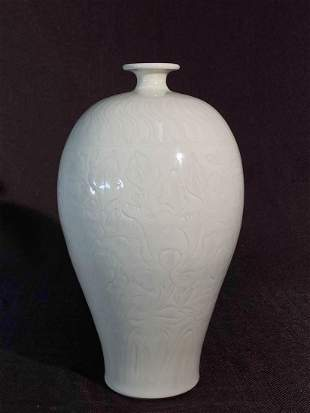 Chinese White Glazed Meiping with Incised Lotus
