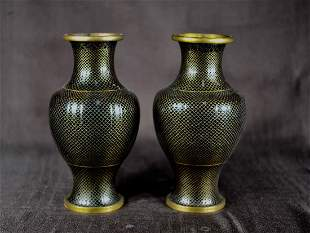 Pair Chinese Fish Scale Cloisonne Vase