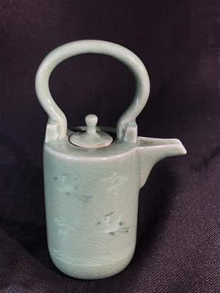 Japanese Celadon Porcelain Teapot - Cranes
