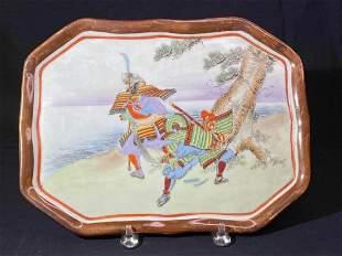 Japanese Kutani Porcelain Charger with Samurai