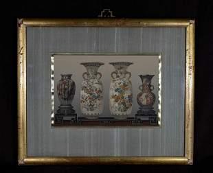 Lithograph of Japanese Vases - Framed