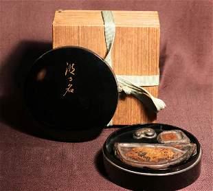 Japanese Round Inkstone Writing Box -Double Inkstone
