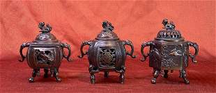 Group of Three Japanese Bronze Censers