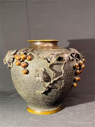 Japanese Meiji Bronze Vase with Grape Décor