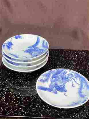 Japanese Arita Porcelain Blue White Dishes - Pheonix