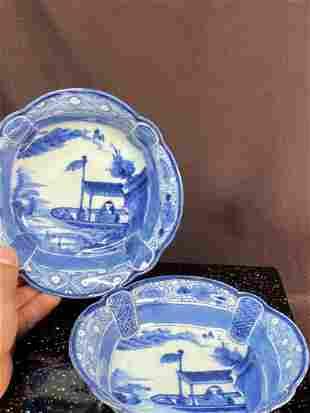 Pair Japanese Blue White Porcelain Bowls - Boat Scene
