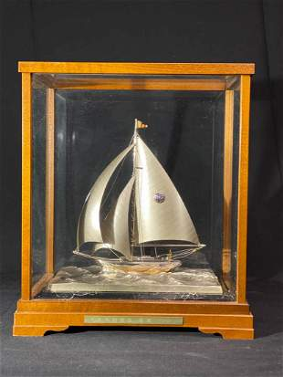 Japanese Silver Boat in Wood and Glass Case