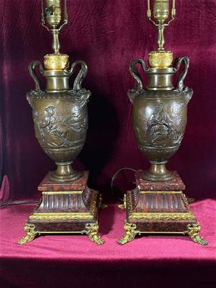 Pair French Bronze Vases Lamps Signed by Barbedienni