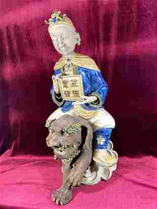 Chinese Shiwan Pottery Sculpture of Lady on Foolion