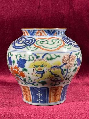 Chinese Wucai Porcelain Vase with Foolion Scene