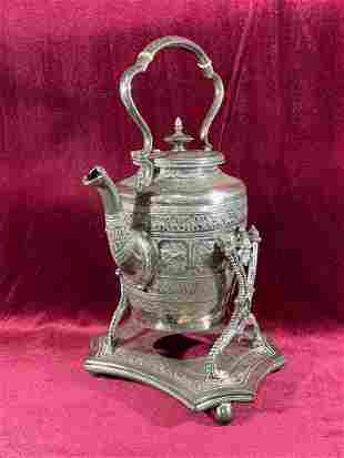 Burmese Silver Teapot with Stand - Buddhist Scene