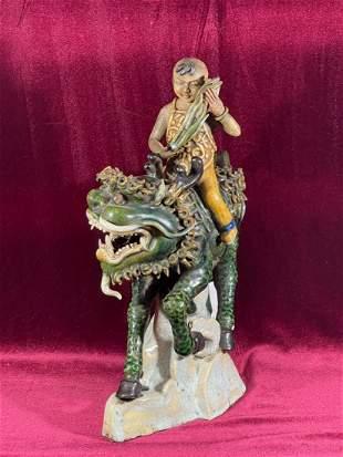 Chinese Signed Shiwan Pottery Figurine on Kirin