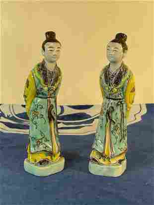 Pair Small Chinese Famille Verte Figurines