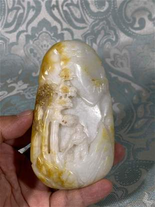 Chinese Carved Nephrite Boulder