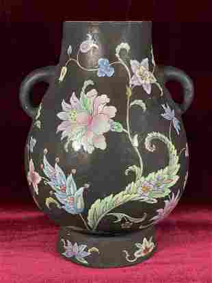 Chinese Famille Noir Porcelain Vase with Double Handle