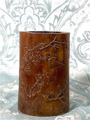 Chinese Carved Bamboo Brushpot with Calligraphy