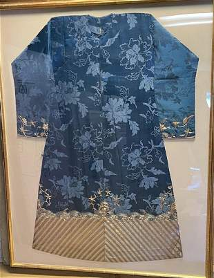 Chinese Blue Embroidery Robe in Frame