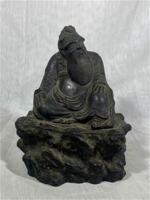 Chinese Bronze Scholar on Rock
