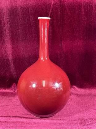 Chinese Oxblood Long Neck Vase