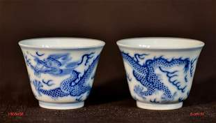 Pair Chinese Blue White Porcelain Cups with Dragon