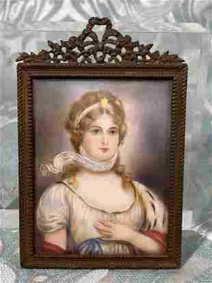 French Framed Miniture Painting - Lady with Scarf