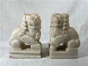 Pair Chinese Carved White Marble Foolions