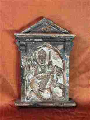 Antique Carved Nepalese Wood Plaque of Manjusri on