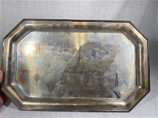 Unusual Cartier Sterling Silver Tray with Clock and