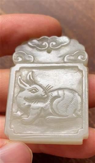 Chinese White Jade Plaque - Rabbit