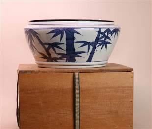 Japanese Blue White Studio Porcelain Brushwasher with