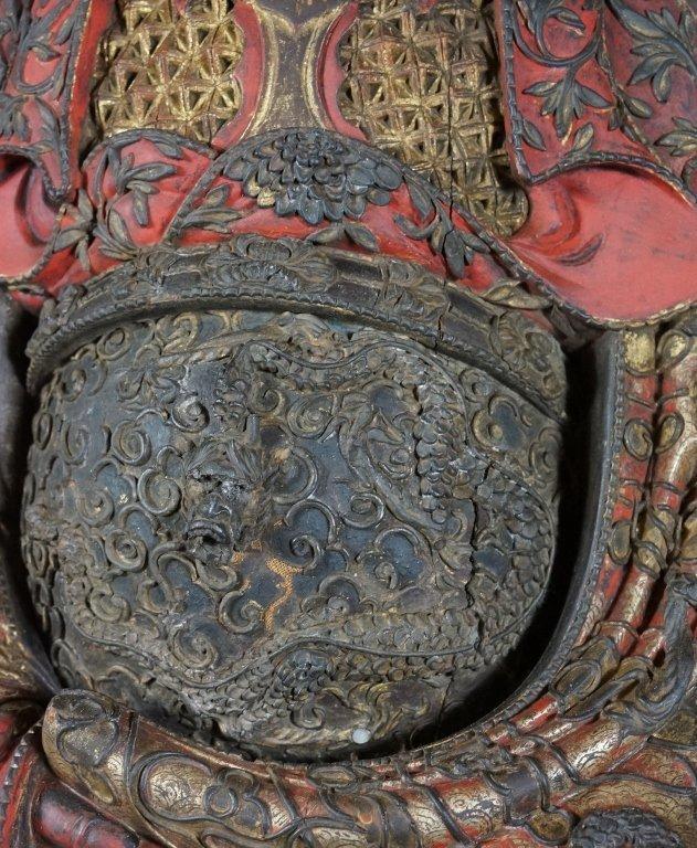 96: Chinese Lacquered Wood Guandi - 3