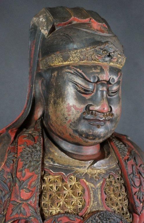 96: Chinese Lacquered Wood Guandi - 4