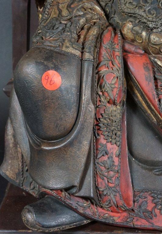96: Chinese Lacquered Wood Guandi - 5