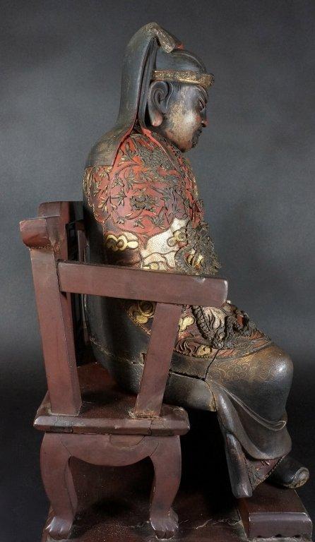 96: Chinese Lacquered Wood Guandi - 7