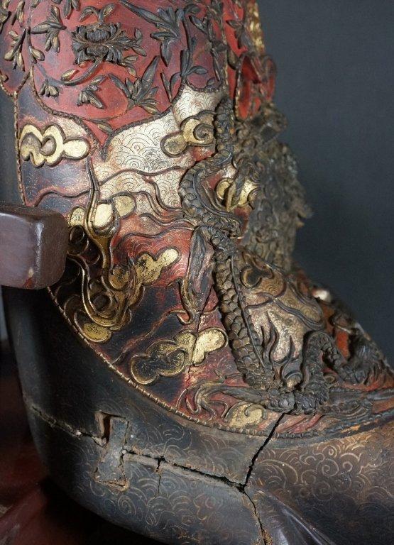 96: Chinese Lacquered Wood Guandi - 8