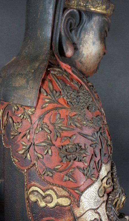 96: Chinese Lacquered Wood Guandi - 9