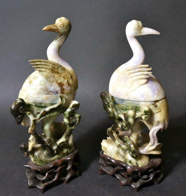 323: Pair of Chinese Lavender Jadeite Cranes