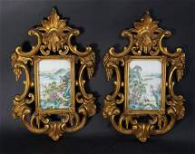 717 Pair of Chinese Porcelain Plaque in French Frame