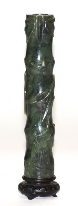 Chinese Spinach Jade Scholar Incense Vase