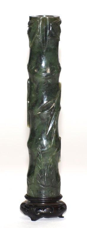 Chinese Spinach Jade Scholar Incense Vase