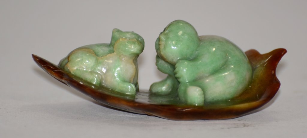 Chinese Jadeite Carving of Boy and Cat