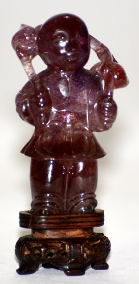 Chinese Carved Amethyst Boy