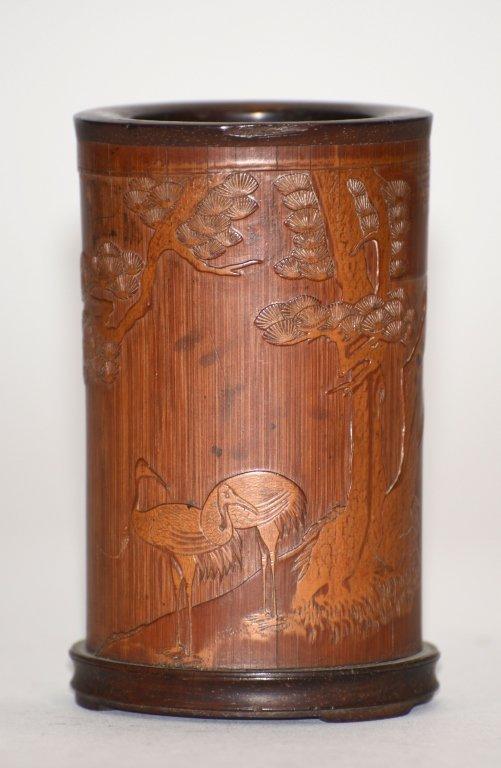 Chinese Bamboo Brushpot - Cranes