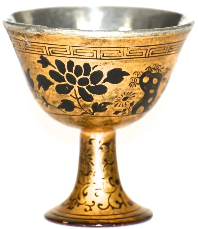 Chinese Qing Lacquer Stem Wine Cup